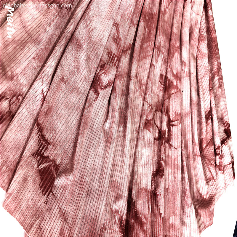 fashion rayon spandex rib tie dyed