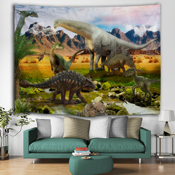Dinosaur Group Tapestry Jurassic Wild Anicient Animals Wall Hanging Tropical Jungle Natural Volcanic 3D Wall Blanket for Childre