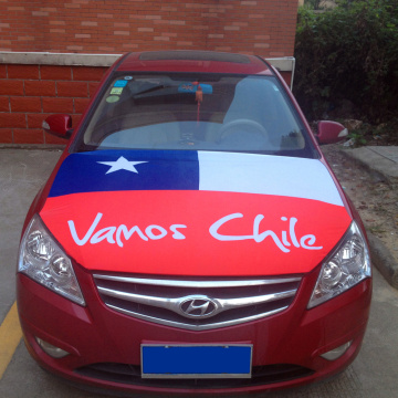 Chile Flag Knitted polyester Spandex Material Car Hood cover