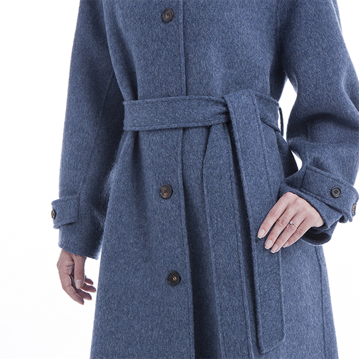 Knee blue cashmere overcoat waist