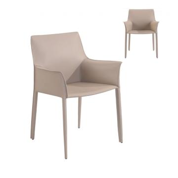 Beige Low Back PU Dining Chair with Armrest
