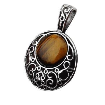 Tiger Eye 20MM Cabochon Alloy Gemstone Pendant