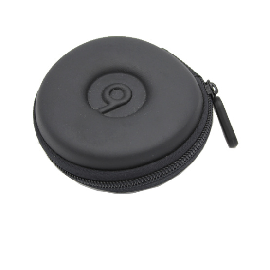 Top quality mini leather hard shell round earphone case with hook