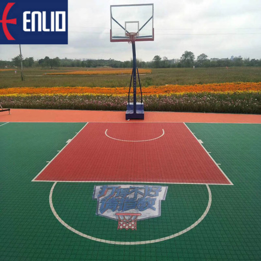 Simple color outdoor PP interlocking basketball court mat