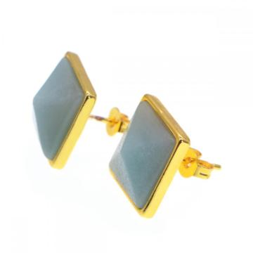 Natural Craved Pyramid Aventurine Stud Earrings