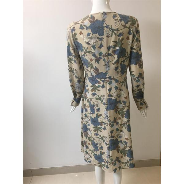printed polyester long sleeve dress