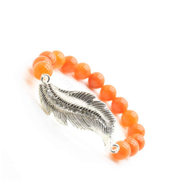 Red Aventurine Gemstone Bracelet with Diamante feather alloy Piece