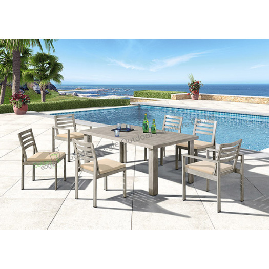 Aluminum 7-Piece Square Dining Table and Chairs