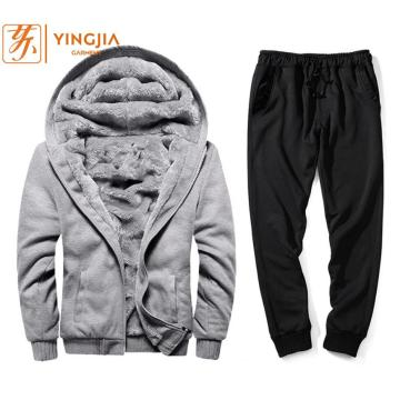 Winter Men's Youth Plus Velvet Solid Color Tracksuits