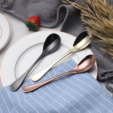Food Grade Titanium Plating Stainless Steel Dessert Spoon