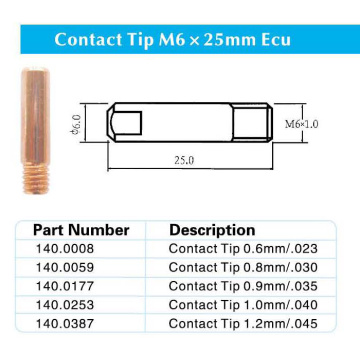 Contact Tip M6x25mm E-Cu for Binzel