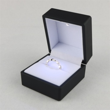 Black jewelry ring boxes with led light