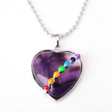 Seven Chakras Gemstone Amethyst Heart Pendant Necklace