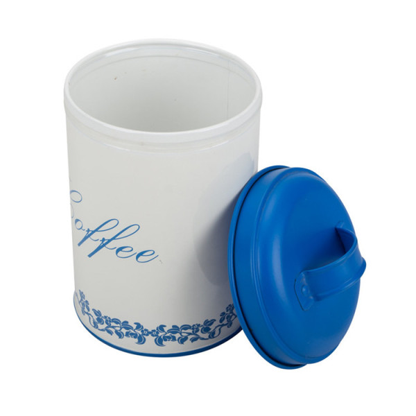 White and blue tea sugar canister set