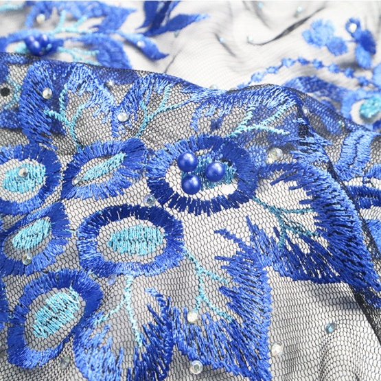 Navy Blue Floral Beaded Embroidery Lace Fabric