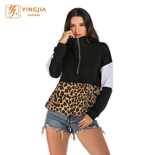 Ladies leopard print Long Sleeve Zip Hoodies Sweatshirt
