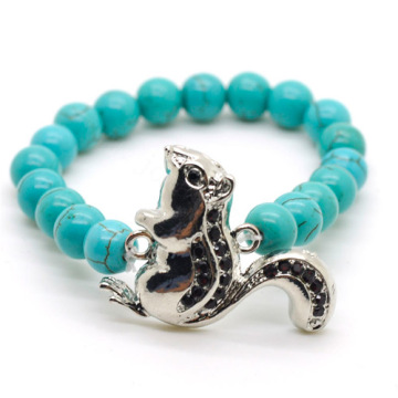 Turquoise 8MM Round Beads Stretch Gemstone Bracelet with Diamante alloy squirrel Piece