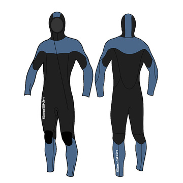 Seaskin Men's Front Zipper Wetsuit Bodysuit with Hooded