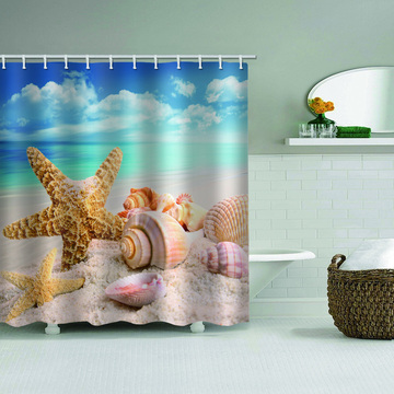 Starfish Conch Waterproof Shower Curtain Sea Beach Bathroom Decor