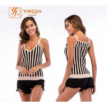 Ladies Slim Sexy V-neck Strap Knitted Vest Tops