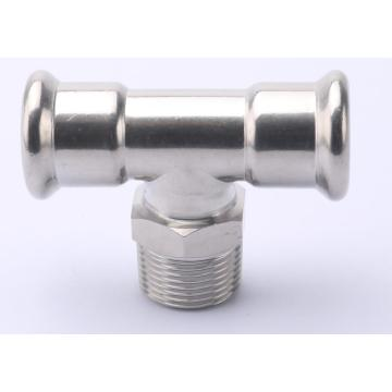 Stainless Steel Male Thread Equal Tee Press Fitting