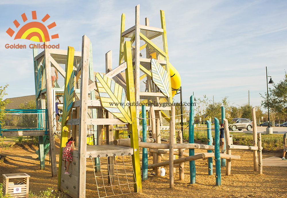 outdoor Wooden Tower Playground for kids
