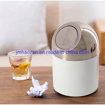 Colorful Half Round Lid Desktop Push Type Dustbin