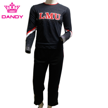 black and red stripes boys cheerleader attire