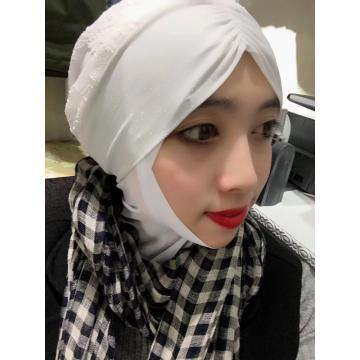 Muslim Lovely White Scarf Backing cap