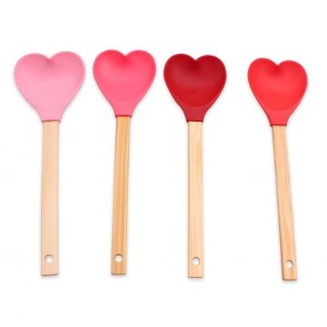 Silicone spoon with Wooden Handle
