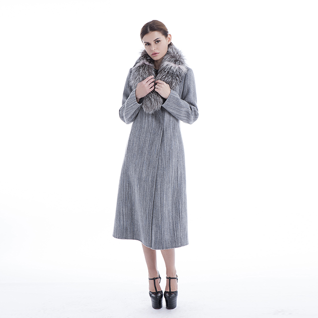 Wool collar trim cashmere coat