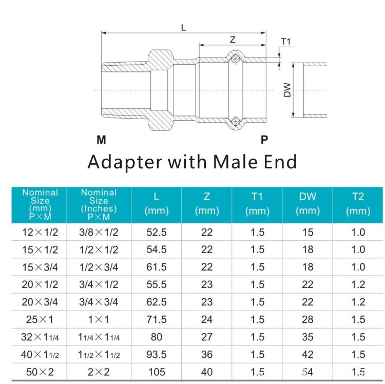 adapter with male