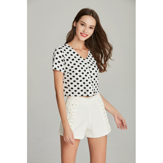 new fashion ladies printed crepe blouse for summer