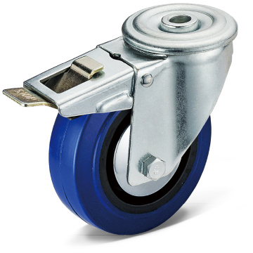 Elastic Rubber Bolt Hole Movable Double Brake Casters