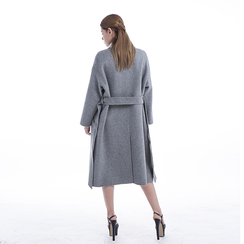 100% pure cashmere coat Long grey