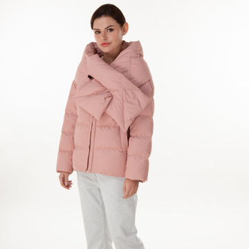 Pink down jacket with down collar