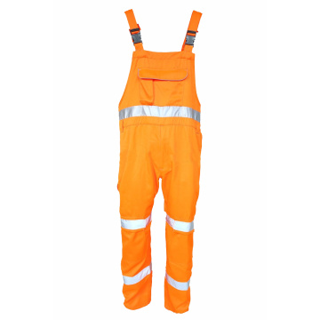 High visibility bib brace trousers