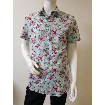 men's print short sleeve shirt 100%COTTON slim fit