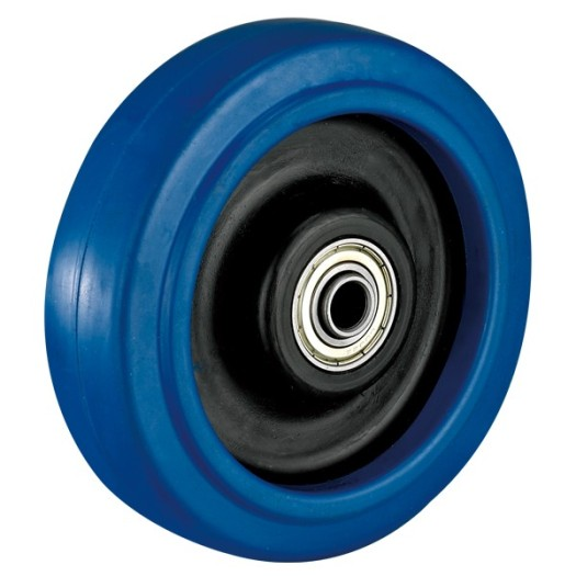3'' Plate Fixed Blue Elastic Rubber Caster