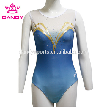 blue ombre lycra gymnastics uniforms