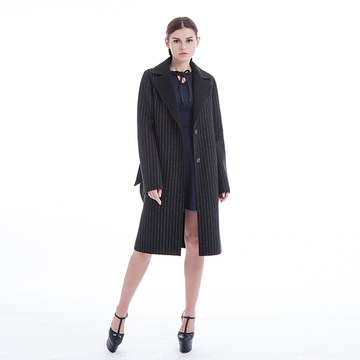 Black striped cashmere overcoat