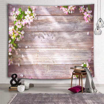 Wood Plank Flower Wall Tapestry Retro Pink Tapestry Wall Hanging for Livingroom Bedroom Dorm Home Decor