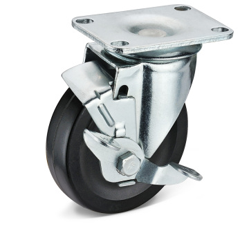 The Black Rubber Side Brake Caster Wheels