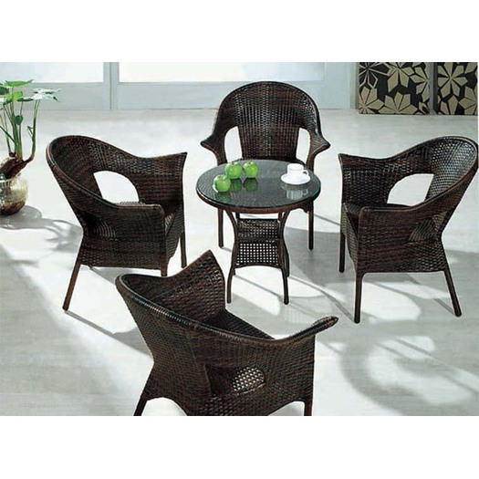 Round Glass Outdoor Leisure Rattan Dining Set