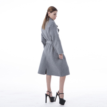 Haze grey lapel belt cashmere coat