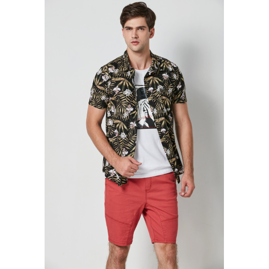 casual hawaii printed viscose short sleeve mens shirts