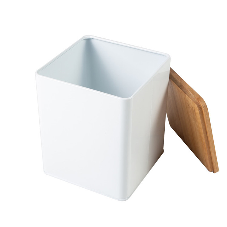 White bamboo lid tea sugar canister