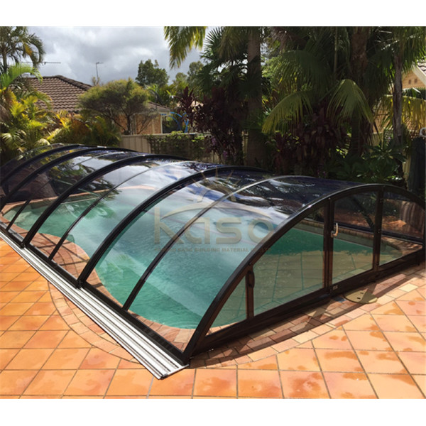 Curved Automatic Artificial Grass Cover Swimming Pool