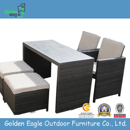 Outdoor Brushed Aluminum UV Wicker Dining Set