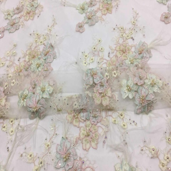 Beige handwork Beaded Embroidery Flower Fabric